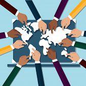 Hands Touching World Map