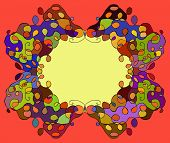 Abstract Tracery Frame Painted By Hand. Vector