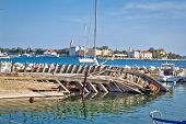 Old Sinked Wooden Ship In Zadar
