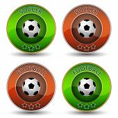 Soccer or football vector icon or badge with ball