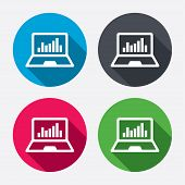 Laptop sign icon. Notebook pc with graph symbol