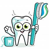 Tooth cartoon holding toothbrush