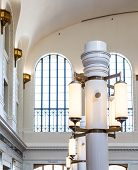 image of light fixture  - Old Fashioned Ceiling Light Fixture in Public Building - JPG