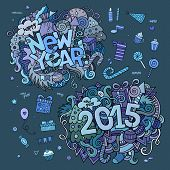 Set of 2015 and New Year hand lettering and doodles elements