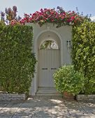 house entrance with solid wood door and bougainvillea flowers