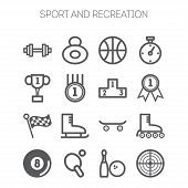 Set of monochromatic simple sports icons