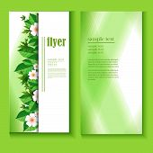 Flyer Template Spring Leaves And Flowers
