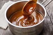 liquid caramel is poured