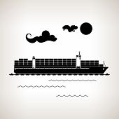 Silhouette Cargo Container Ship On A Light Background , Vector Illustration