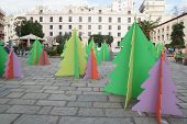 christmas trees on the square town