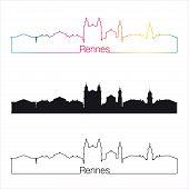 Rennes Skyline Linear Style With Rainbow