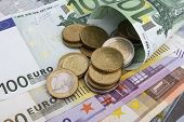 Euro (eur) Notes And Coins. Business Concept.