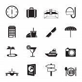 Silhouette travel, trip and tourism icons