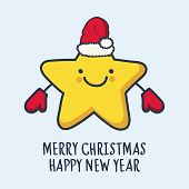 Funny Sketching Star In Hat And Mittens. New Year And Christmas Greeting Card. Vector Illustration