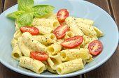 picture of carbonara  - Macaroni carbonara sauce served on a plate - JPG