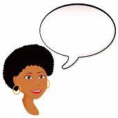 Постер, плакат: Черная женщина объявление с речи пузырь