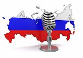 Microphone and Russia (clipping path included)
