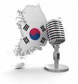 Microphone and South Korea (clipping path included)