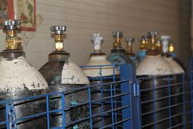 picture of gases  - high pressure cylinders for compressed industrial gases - JPG