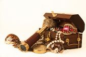 picture of treasure  - Pirate treasure chest with pearls jewels coins and glass - JPG
