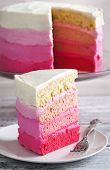 stock photo of ombres  - Delicious Homemade Vanilla Cake In Pink Ombre - JPG