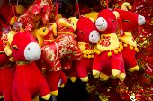 stock photo of stuffed animals  - Colorful Year of the Ram stuffed animals celebrate Chinese New Year - JPG