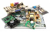 stock photo of capacitor  - Electronic waste isolated on white - JPG
