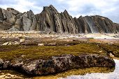 foto of slating  - In a flysch layers of hard rocks  - JPG