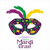 pic of venice carnival  - Bright vector carnival icons and sign Time to Mardi Gras - JPG