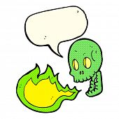 pic of fire-breathing  - cartoon fire breathing skull with speech bubble - JPG