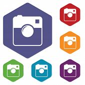 stock photo of megapixel  - Camera rhombus icons set in different colors - JPG