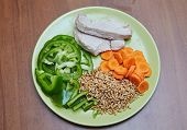 stock photo of turkey dinner  - Fresh cooked chicken or turkey two slices lying on a green plate next is chopped green bell pepper sliced carrot and the prophets young wheat lunch dinner healthy food without fat diet tasty useful beautiful fiber protein - JPG