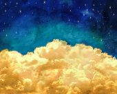 picture of twinkle  -  puffy clouds and a blue sky with twinkling stars done with a texture overlay of grunge  - JPG