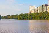pic of rosslyn  - Rosslyn skyscrapers across the Potomac River with bridge to Theodore Roosevelt island in a view - JPG