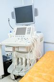 stock photo of diagnostic medical tool  - Interior of medical room with ultrasound diagnostic equipment - JPG