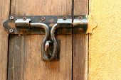 foto of lock  - lock of the door locked with padlock - JPG