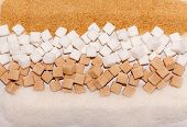 picture of sugar cube  - Crystal and cube white and brown sugar background - JPG
