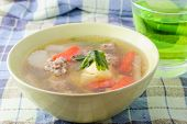 picture of curd  - clear soup with bean curd and minced pork and drink  - JPG