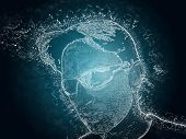 pic of ice crystal  - Human face made of Ice crystals and water splash - JPG