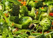 picture of sauteed  - Close up of sauteed vegetables  vegetarian dish - JPG