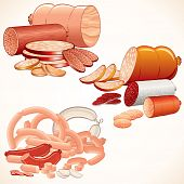 image of food groups  - vector Set of various Meat products  - JPG