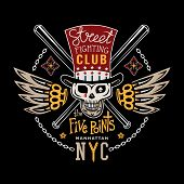 foto of brass knuckles  - Colored vector illustration street fighting club emblem with cylinder hat skull brass knuckles bats stars and inscription - JPG