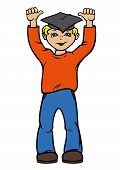pic of graduation hat  - Illustration a cartoon boy with hands up - JPG