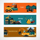 picture of minerals  - Mining industry horizontal banners set with mineral extraction and transportation elements isolated vector illustration - JPG