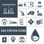 stock photo of petrol  - Gas station icons black set with petrol station fuel tank isolated vector illustration - JPG