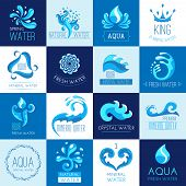 pic of minerals  - Fresh clear spring mineral water emblems set isolated vector illustration - JPG