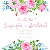 picture of forget me not  - Forget me nots and pink roses floral design frame vector element - JPG