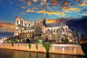 pic of notre dame  - Notre Dame Cathedral at dusk in Paris France - JPG