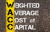 foto of average looking  - Business Acronym WACC as Weighted Average Cost of Capital. Yellow paint line on the road against asphalt background. Conceptual image - JPG