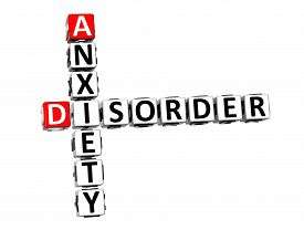 picture of bulimic  - 3D Crossword Anxiety Disorder over white background - JPG